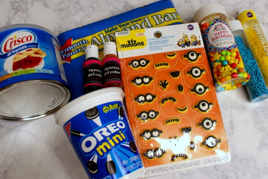 Items needed to make a Minions dessert