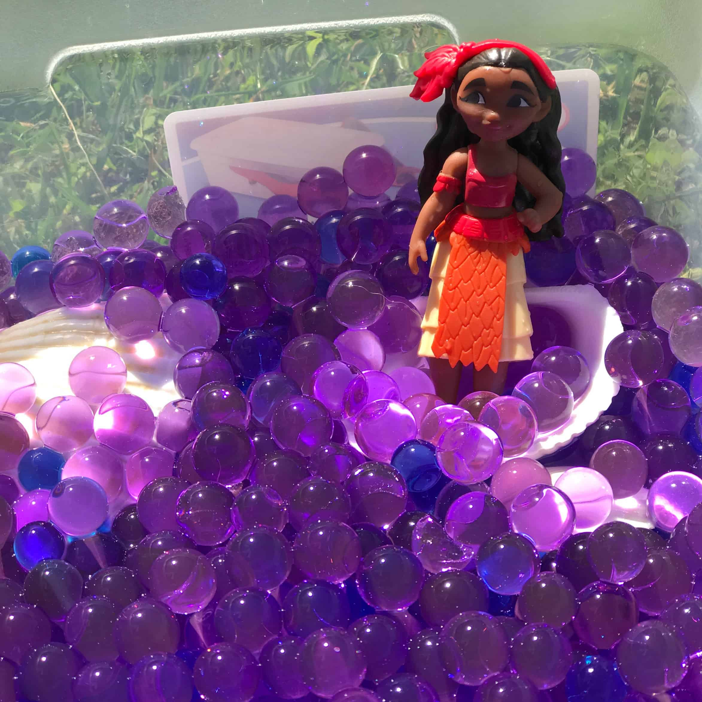 This water bead sensory play is a fun way to use our Moana toys for some pretend play. Water beads are inexpensive to purchase and tons of fun for kids to play with!