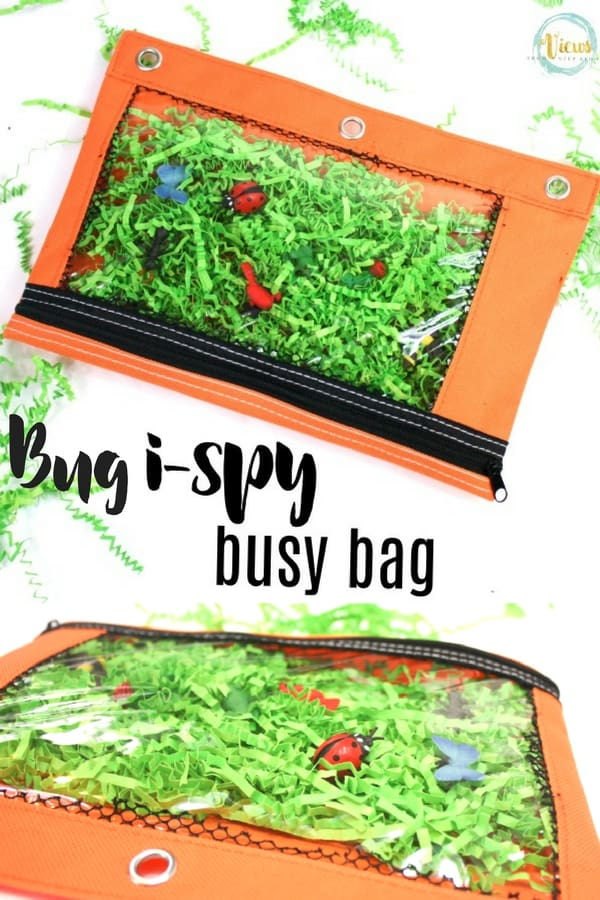 This bug hunt i-spy busy bag allows kids to use their fine motor skills to search for bugs in this busy bag to take with you on the go! Printable included.