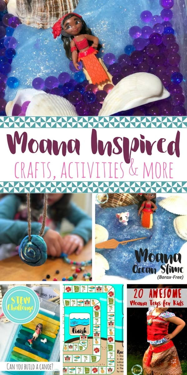 These Moana crafts and activities for kids will keep your little Moana lover so happy! From slime, STEM challenges and DIY necklaces, these are so fun!