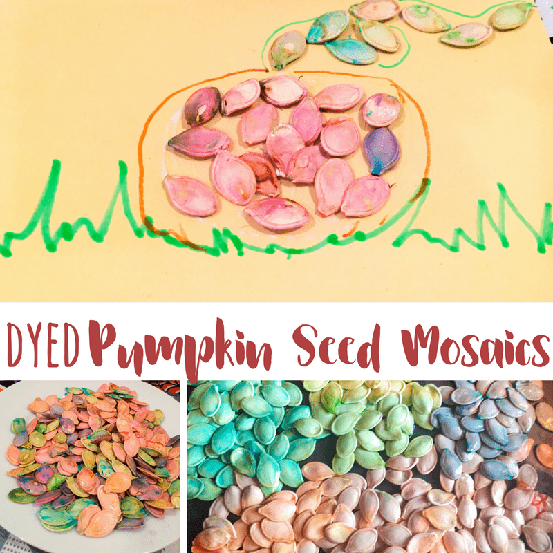 Making colored pumpkin seeds just like dyeing Easter eggs is a great way to use up the inside of a pumpkin after the carving is done.