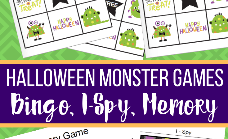 Printable Monster Games: Bingo, I-Spy, Memory