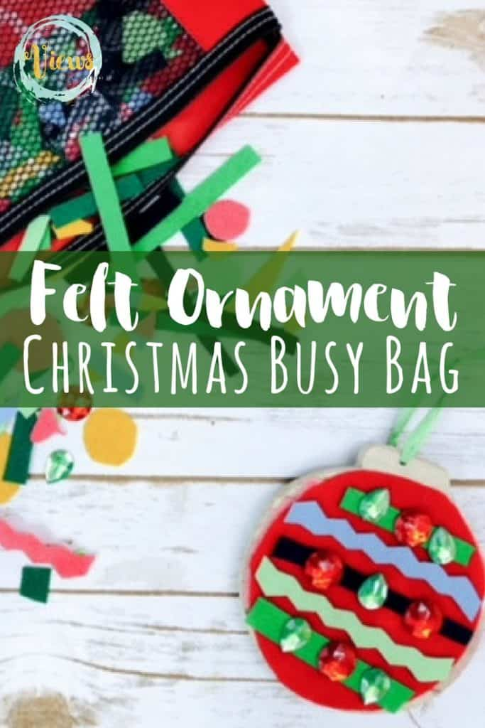 This Christmas busy bag allows kids to use their imagination and creativity as they decorate their own felt ornament, over and over again!