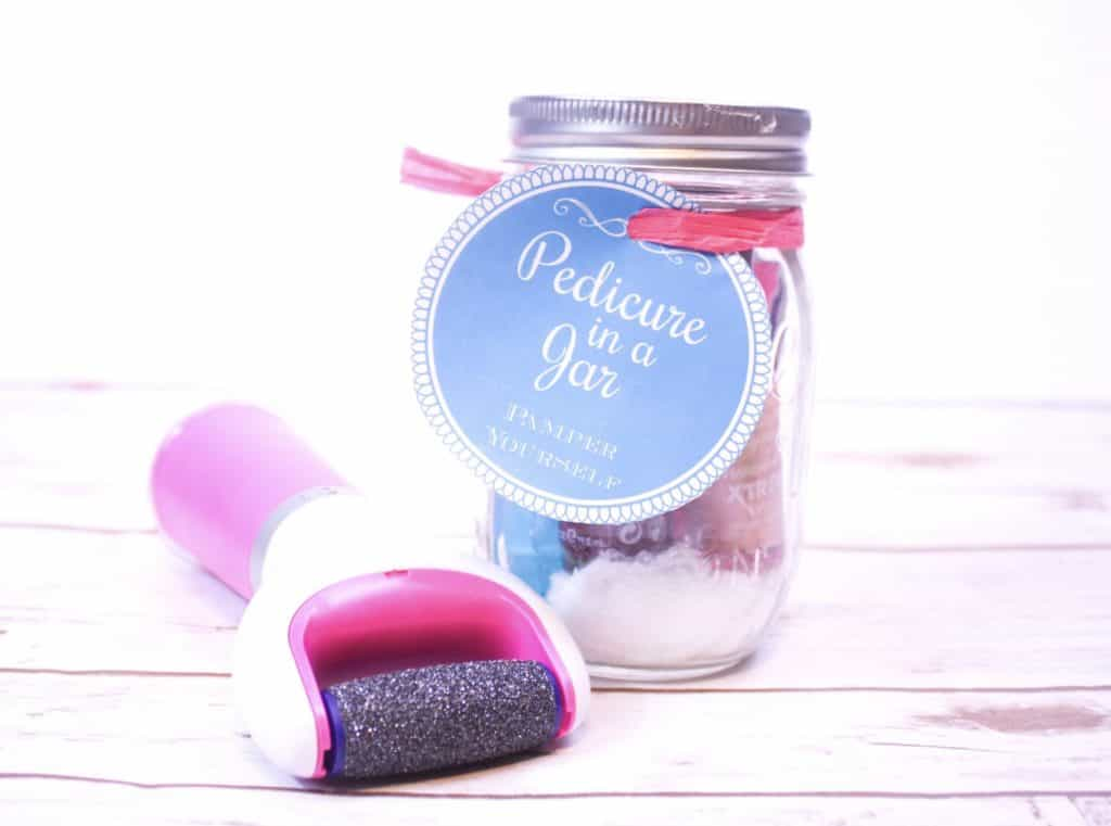 This pedicure in a jar makes an excellent DIY gift for any woman in your life! The Pedi Perfect is an addition that really steps this DIY gift up a notch.