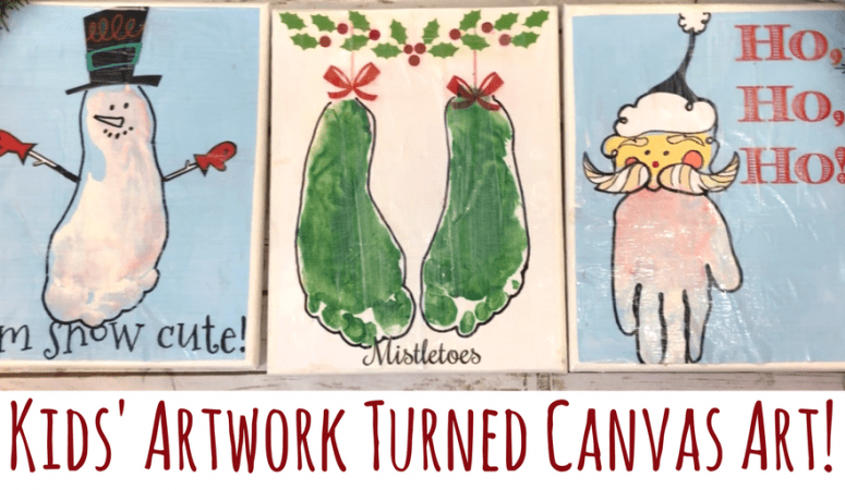 Christmas Canvas Art with Printable Handprint and Footprint Kids Art