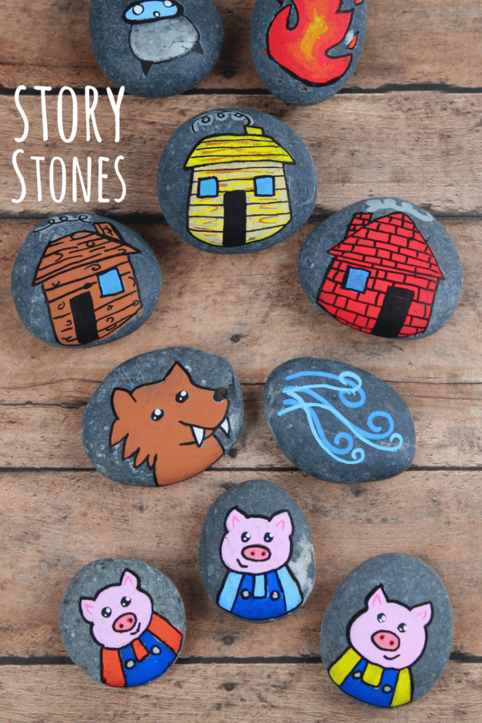 These 3 Little Pig story stones are perfect for re-telling and reading comprehension. Using flat rocks and paint pens, these are simple to make!