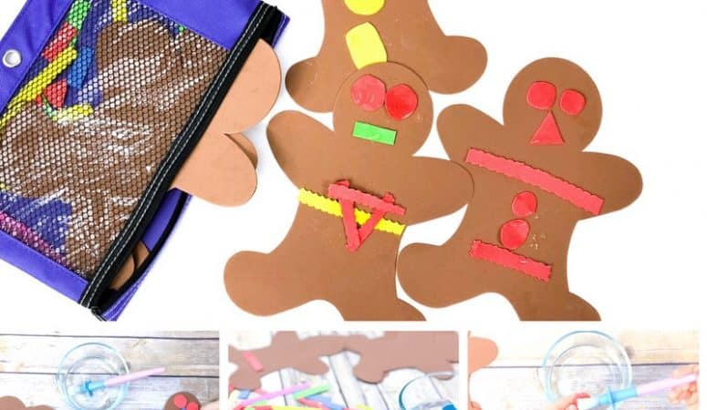 Foam Gingerbread Baby Christmas Busy Bag for Toddlers