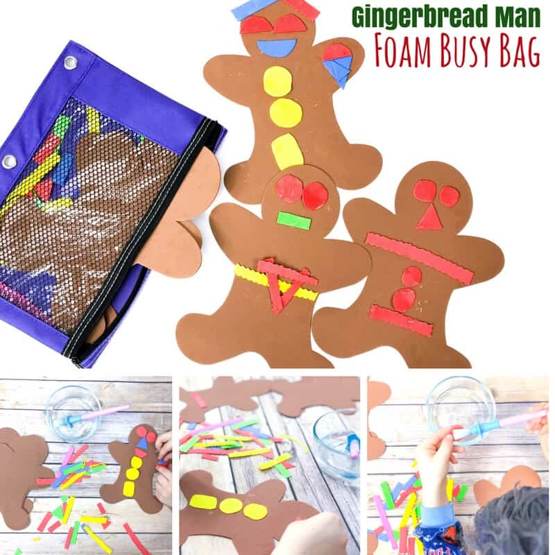 This Christmas busy bag is based on the book Gingerbread Baby and allows kids to decorate their own gingerbread baby, over and over again!