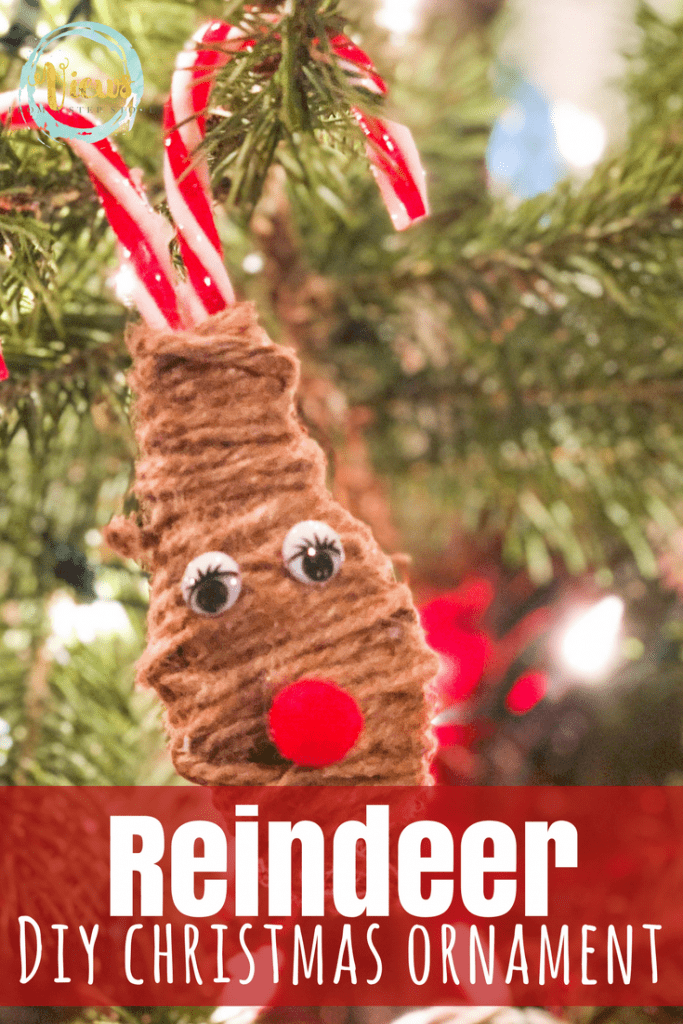 This adorable little reindeer Christmas ornament is made from plastic candy canes and twine! Video tutorial included.