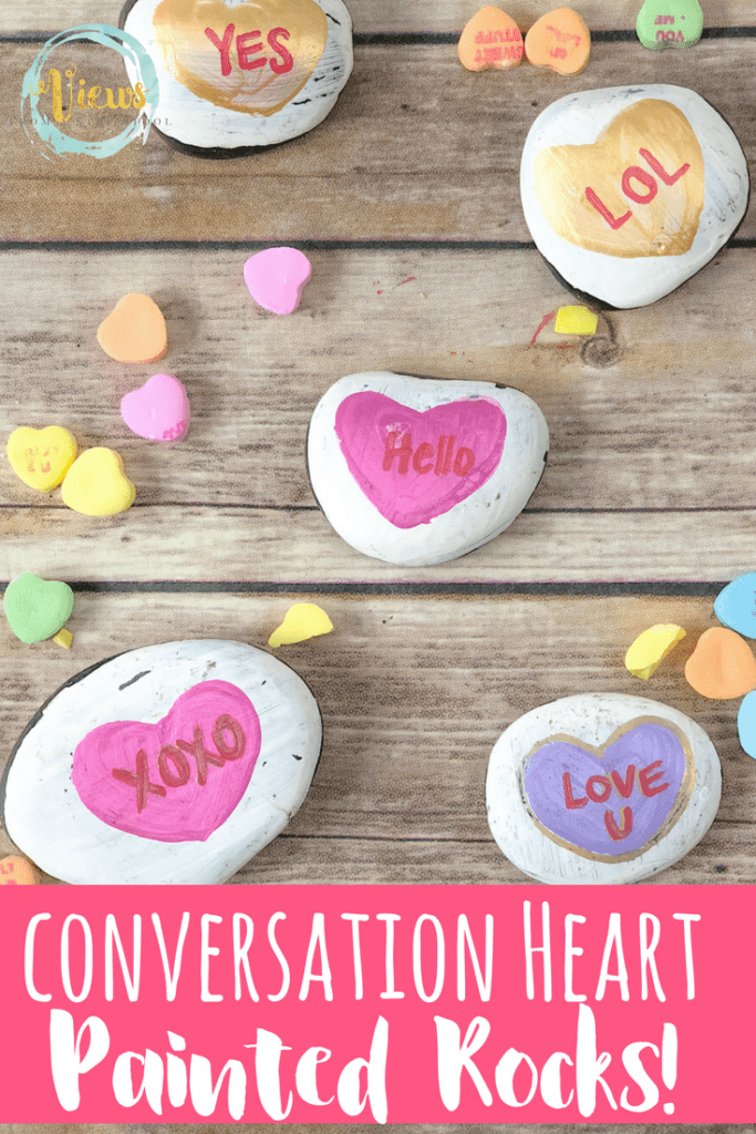 These conversation heart painted rocks take a spin on a classic Valentine's Day treat. Kids can play with or exchange these heart painted rocks!