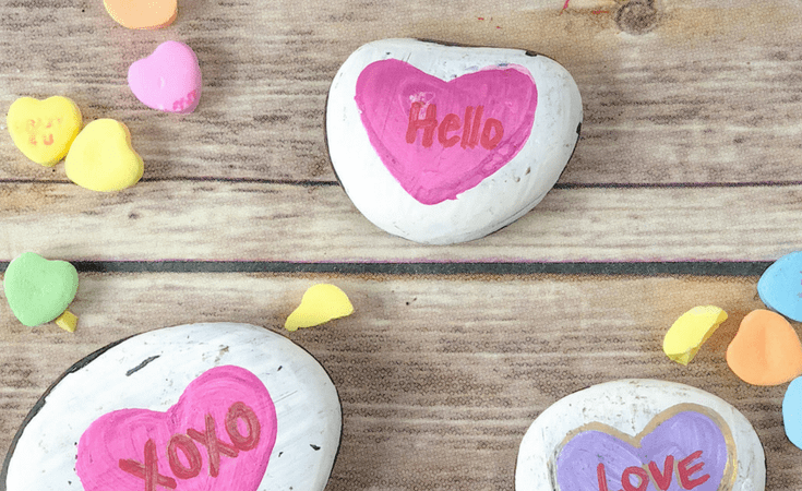 Conversation Heart Painted Rocks
