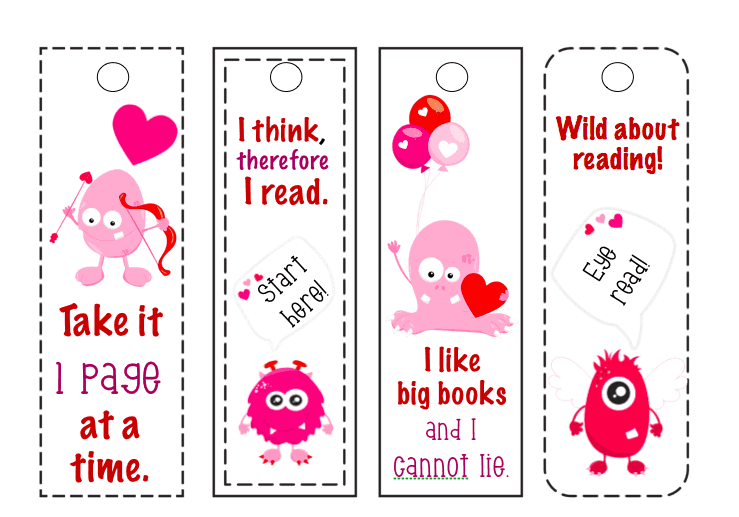 image regarding Cute Printable Bookmarks named No cost Printable Bookmarks: Amusing Monster Valentines Working day
