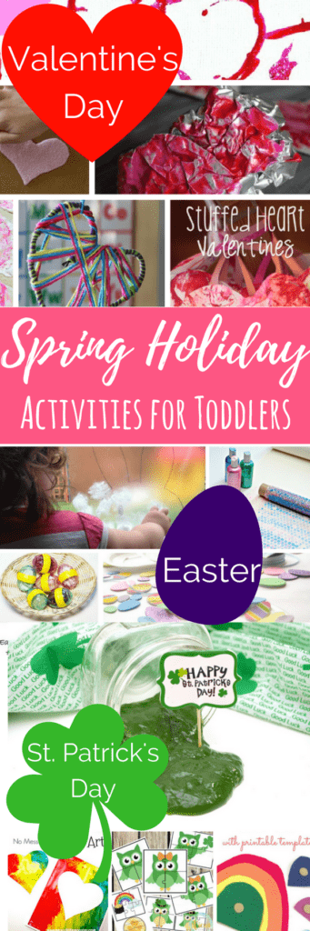 Activities for 1 and 2 year olds that celebrate Valentine's Day, St. Patrick's Day and Easter. Easter activities for 1 year olds that engage and are fun! #kidsactivities #easterforkids #easteractivities #1yearolds #playislearning
