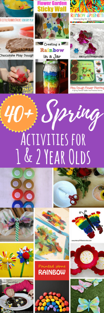 A large list of Spring activities for 1 year olds and toddlers. Including sensory activities, arts and crafts, and fine and gross motor fun.