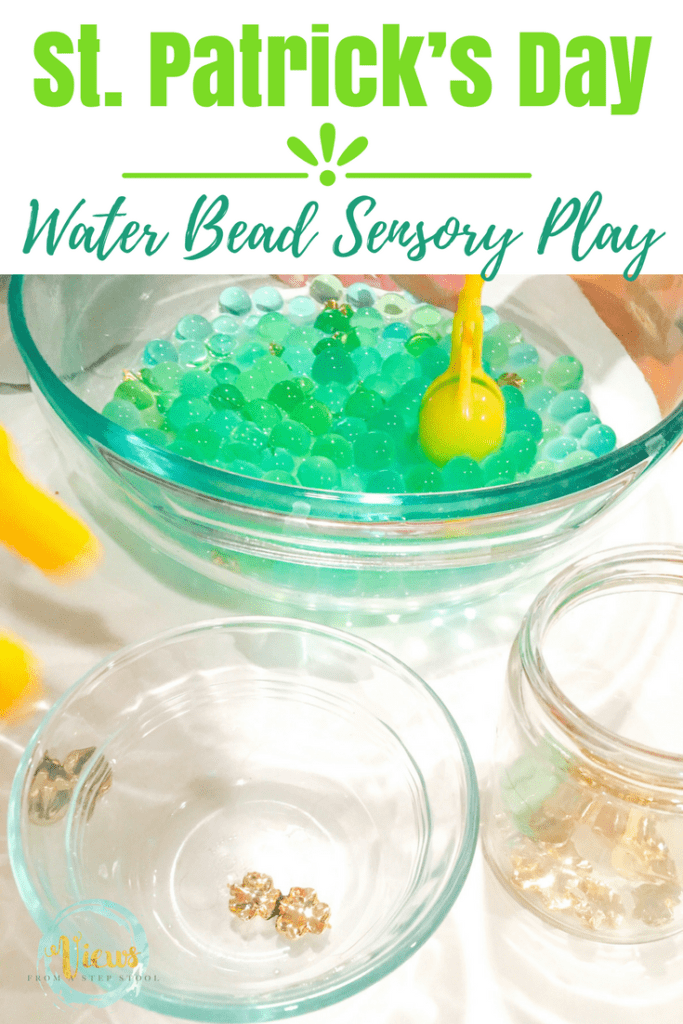 Hunt for hidden shamrocks in this awesome St. Patrick's Day sensory play for kids! Add plastic shamrock pieces to green water beads for fine motor and sensory fun.