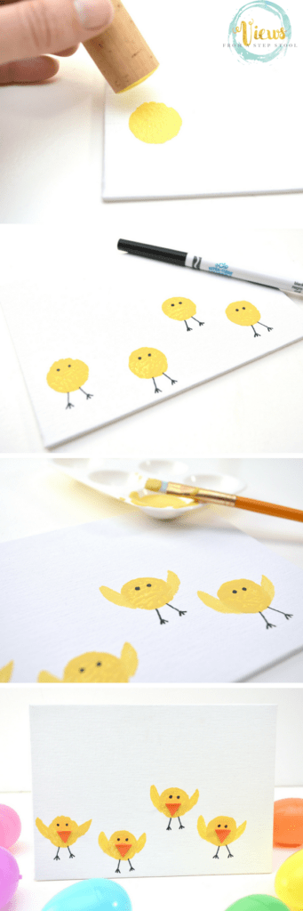 Kids can stamp circles with wine corks and turn them into an adorable baby chick Easter painting. A great keepsake art project for kids!