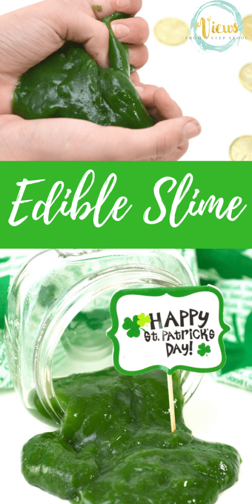 Edible slime recipe made from just a few kitchen ingredients. Perfect as sensory play for toddlers. Excellent kids activity to celebrate St. Patrick's Day!