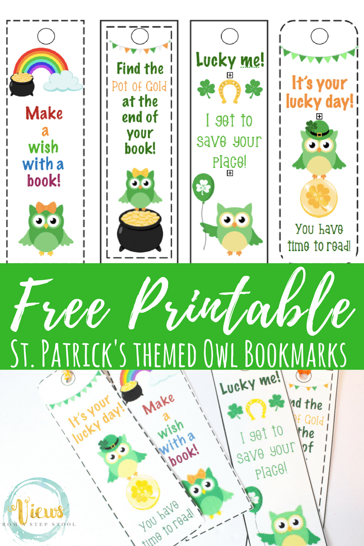 graphic relating to Cute Bookmarks Printable identify No cost St. Patricks Working day Printable Bookmarks with Lovable Owls