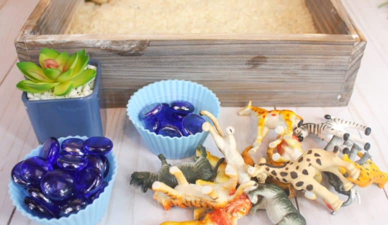 Safari Animal Sensory Bin with Rice