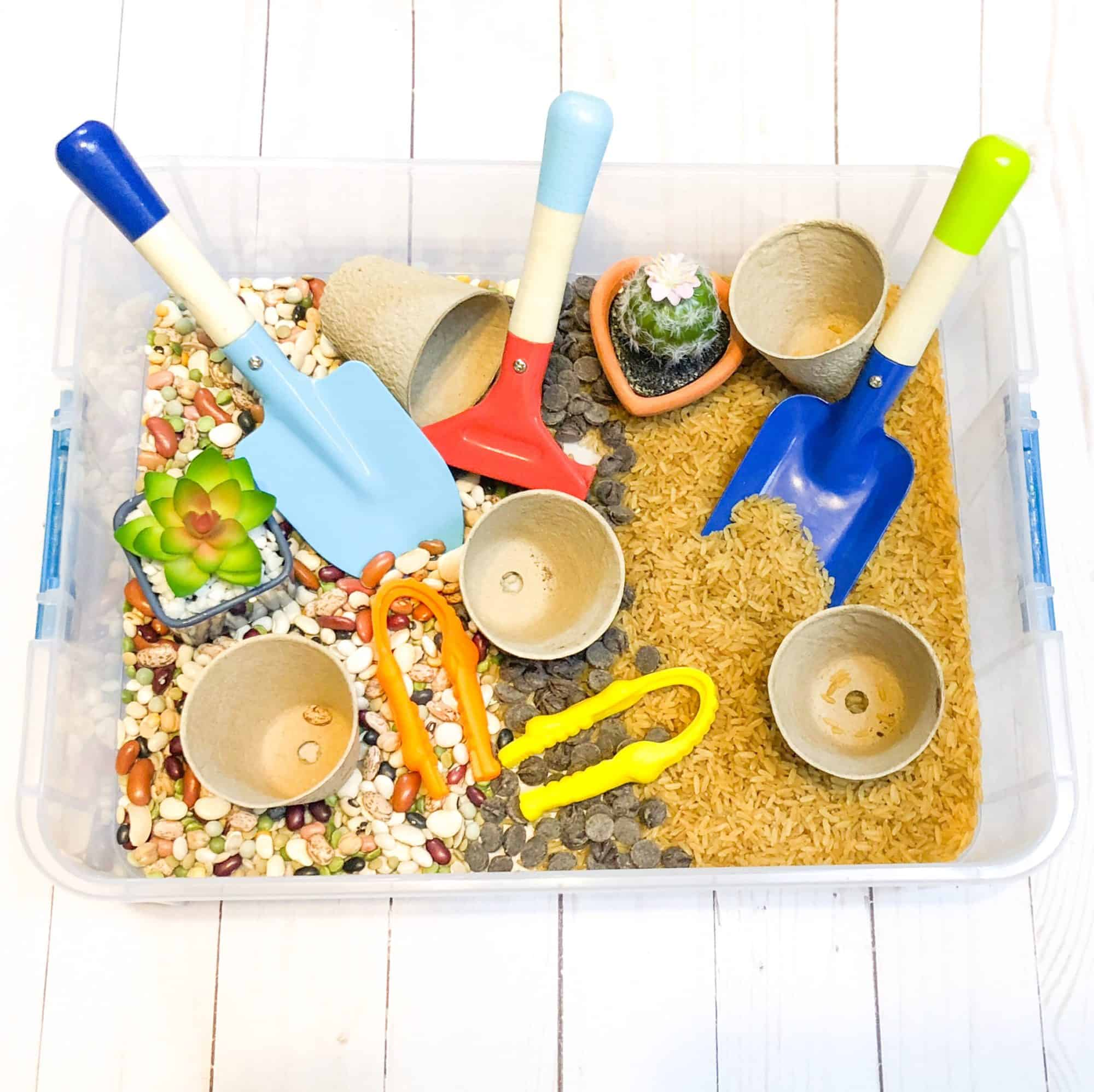 Dig and Plant Indoor Garden Sensory Bin (plus a sweet treat!)