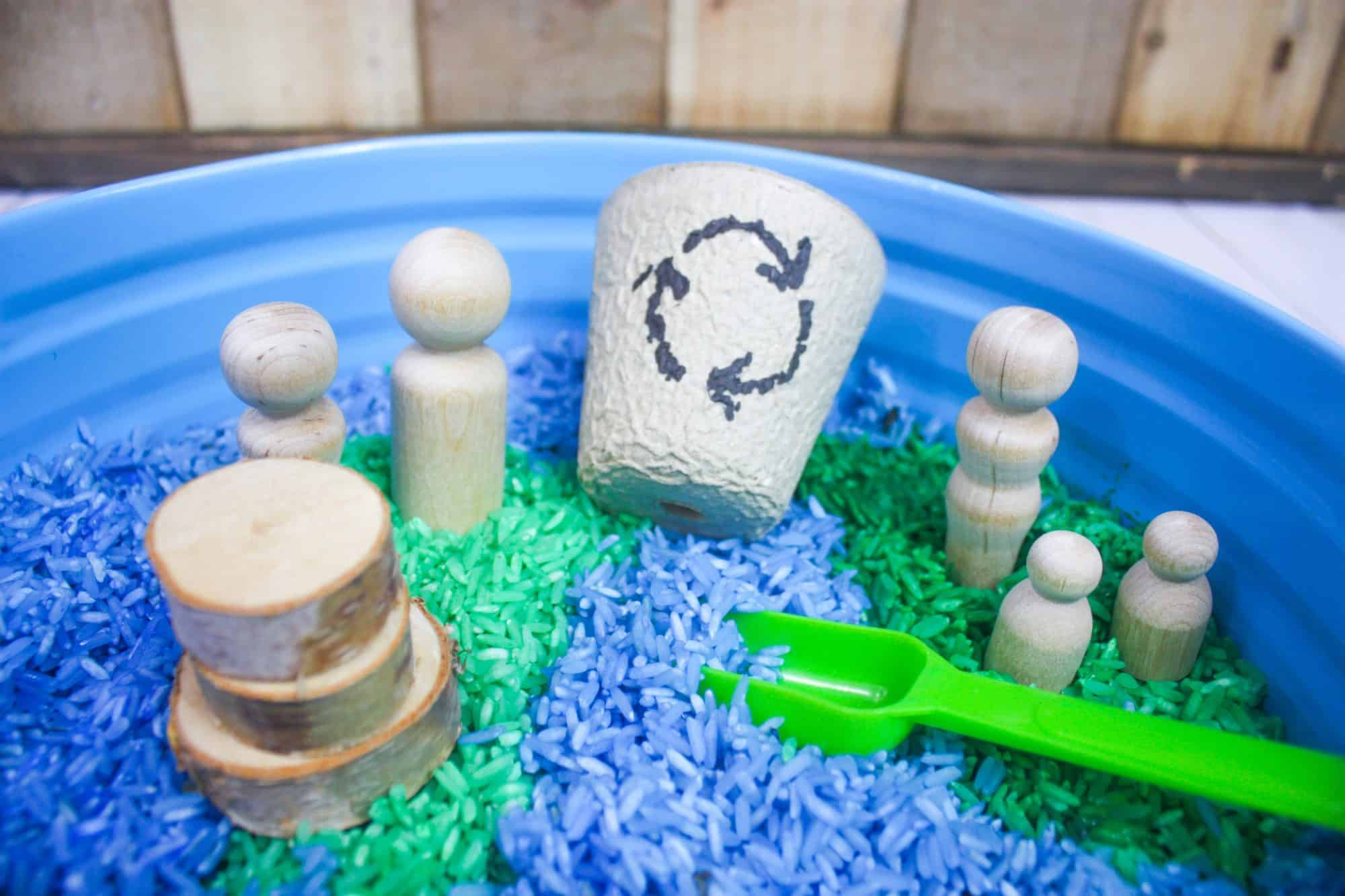 Colored Rice Earth Day Sensory Bin