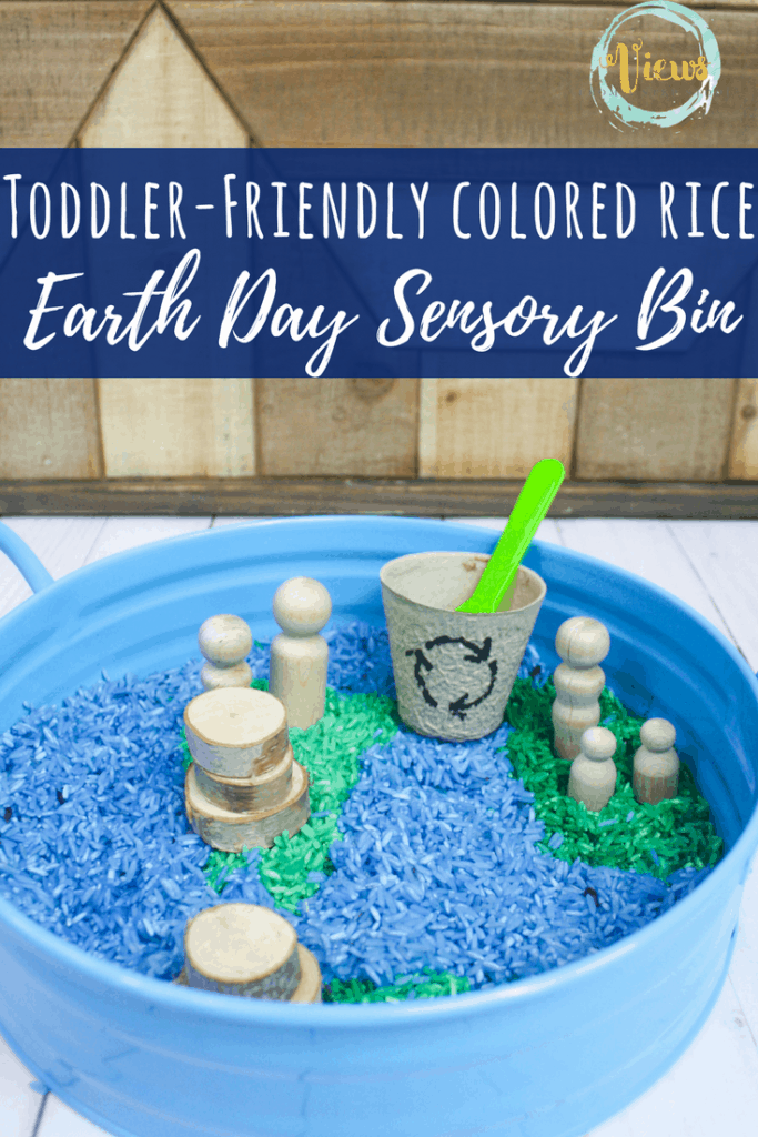 This Earth Day sensory bin uses blue and green colored rice, along with some natural wooden elements to create a fun and engaging bin for play and learning.
