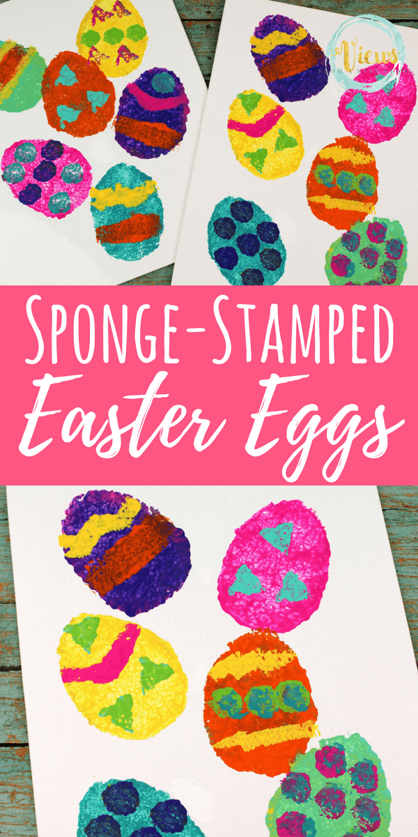 Sponge Stamped Easter Eggs: Easter Art Project for Kids