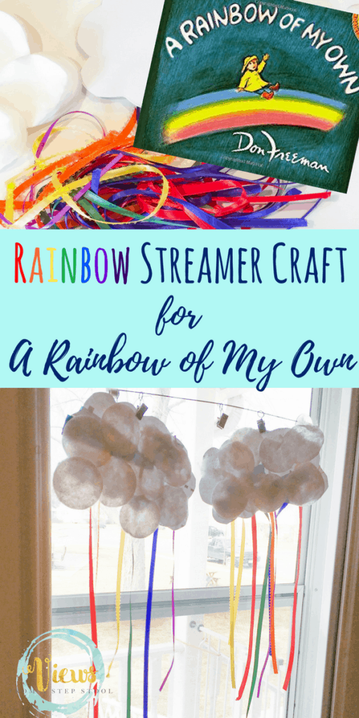 This rainbow streamer craft uses recycled materials and colorful ribbon to make a rainbow hanging from a cloud. The perfect Spring craft for all ages.