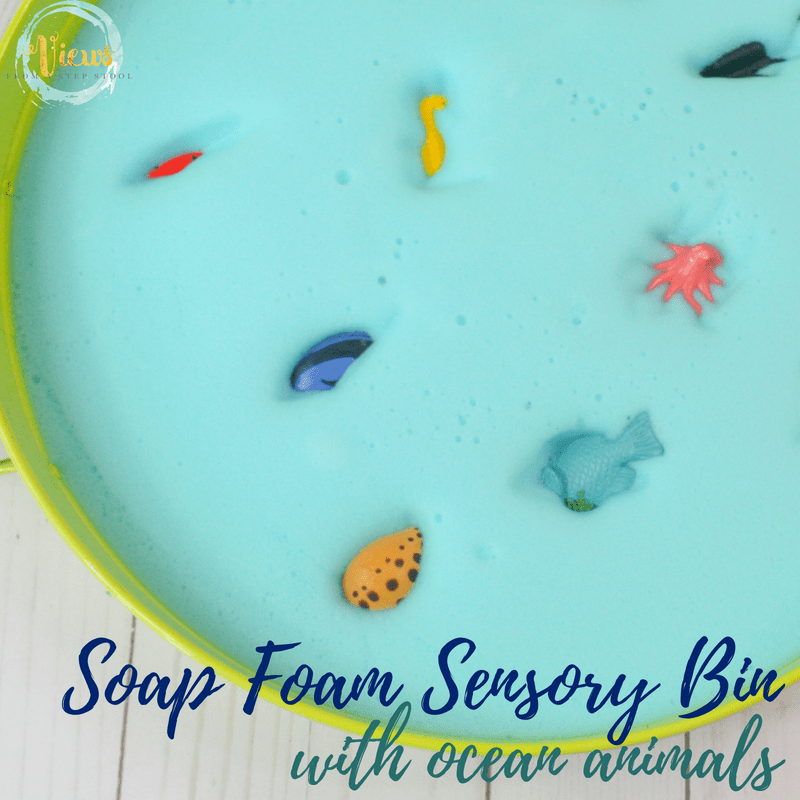 soap foam sensory bin square