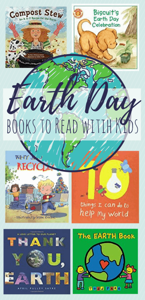 A collection of 15 Earth Day books for kids of varying ages. Books about recycling and reusing, books about composting, and books celebrating the Earth. #kidsbooks #earthday #preschool #recycling #earthmonth #teacher #parenting