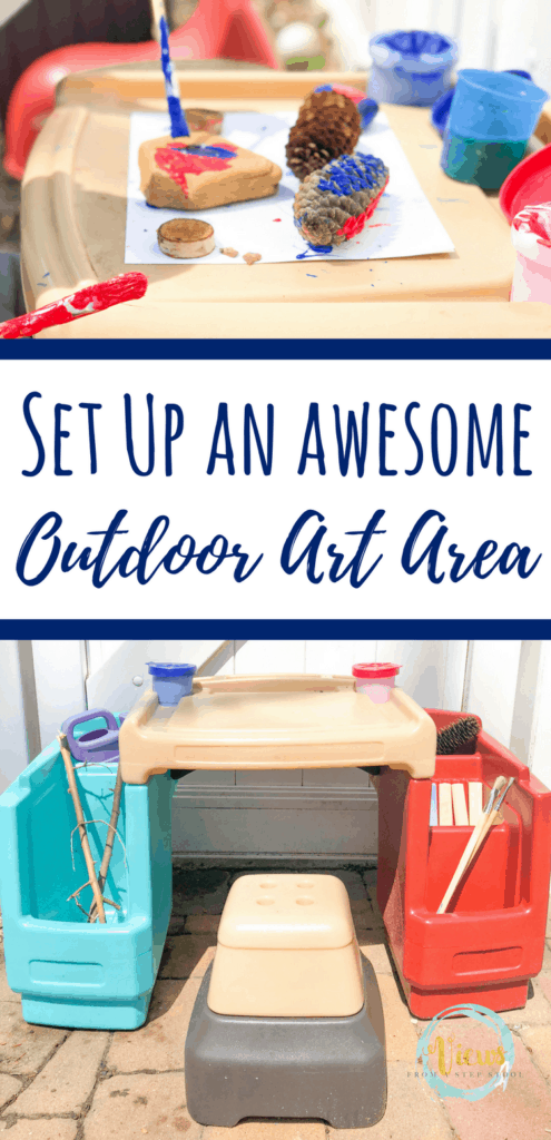 How to setup a backyard art space, and suggestions for simple ways to create outdoors. Art that is easy and accessible, and inspired by nature. #backyardart #outdoorart #backyardfun #parenting #homeschooling #kidsart