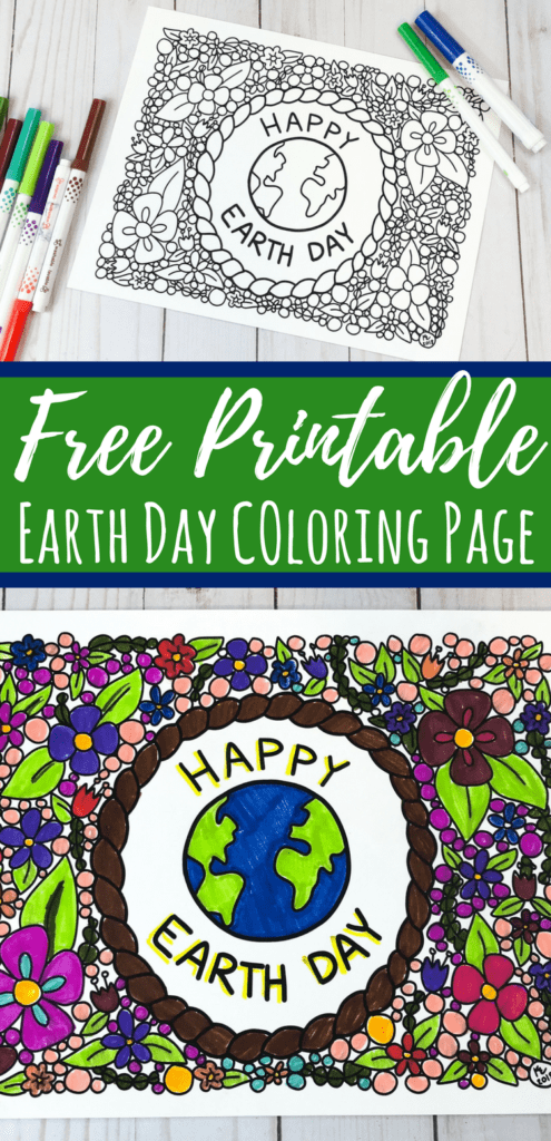 This Earth Day coloring page is perfect for kids and adults to color together. With flowers and whimsical details, it's great to keep as seasonal decor. #coloringpage #earthday #freeprintable #earthmonth #art #parenting #kidsactivities #teacher
