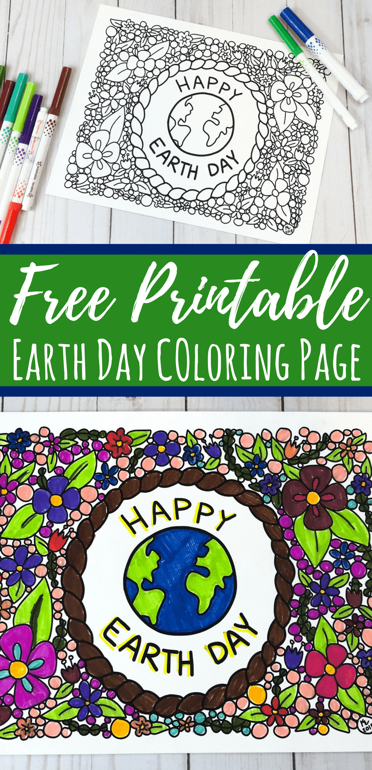 Earth Day Coloring Page for Kids or Adults: Free Printable