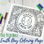 This Earth Day coloring page is perfect for kids and adults to color together. With flowers and whimsical details, it's great to keep as seasonal decor.