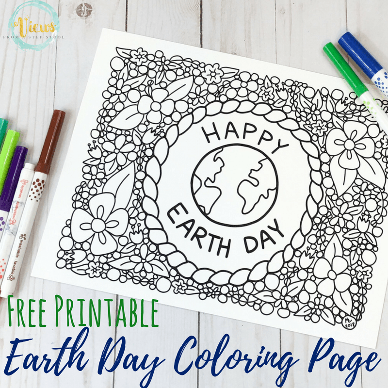 earth day coloring page square