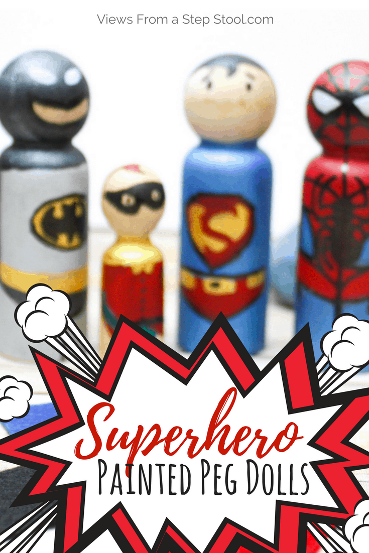 These superhero peg dolls are the perfect DIY toy or homemade gift for kids. A simple tutorial for Spiderman, Superman, Batman and Robin.