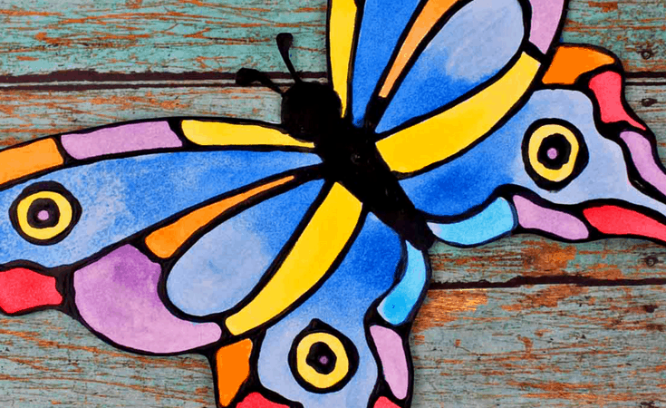 Colorful Butterfly and Watercolor Black Glue Craft for Kids