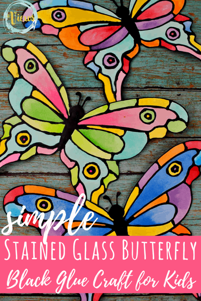 This colorful butterfly black glue craft uses black glue to trace a printable template, and watercolors to fill it in. Easy for toddlers or 'big' kids! #kidscrafts #kidsactivities #blackglue #kidsart #artforkids #toddlerart