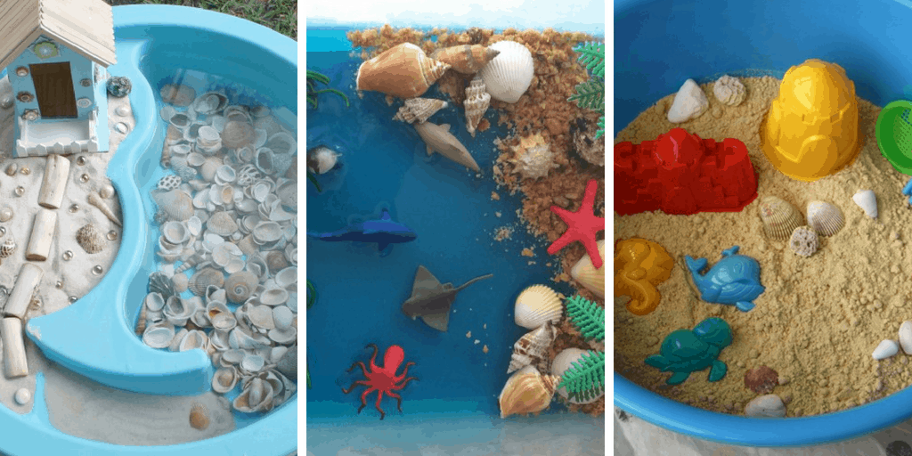 More than 20 ways to play for kids! Beach and ocean sensory play ideas from slime, to small worlds, to play dough, there are many great ideas here. #sensoryplay #oceanactivities #beachactivities #summerkidsactivities #kidsactivities