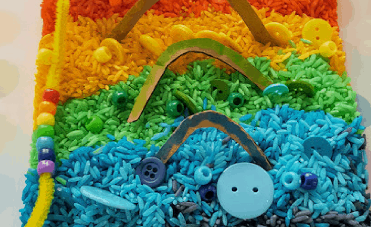The Simplest Rainbow Rice Sensory Bin for Kids plus Fine Motor Practice