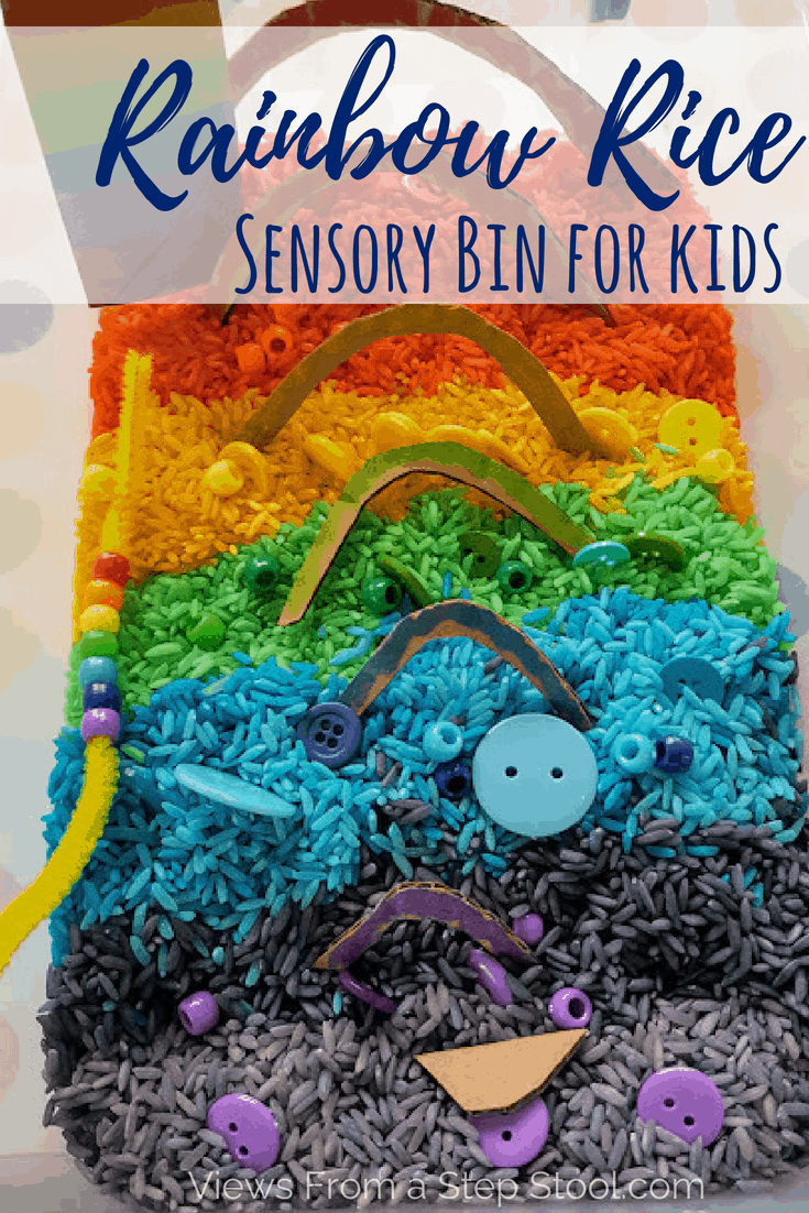 A rainbow rice sensory bin for all ages! Fine motor skill practice and sensory play with a homemade rainbow puzzle kids will love. #sensorybin #rainbowrice #sensoryplayforkids #sensoryplay #preschool #kidsactivities