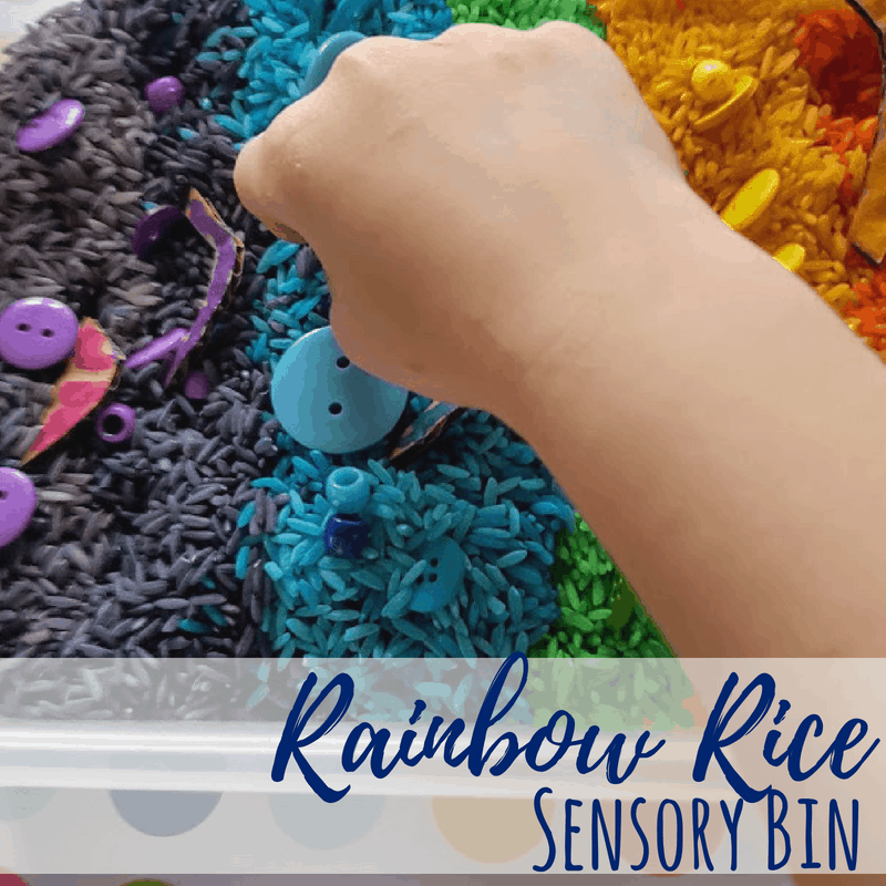 rainbow rice sensory square