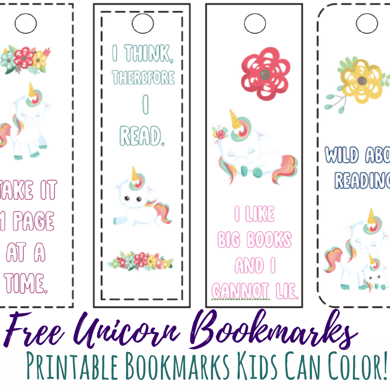 Printable bookmarks unicorn square