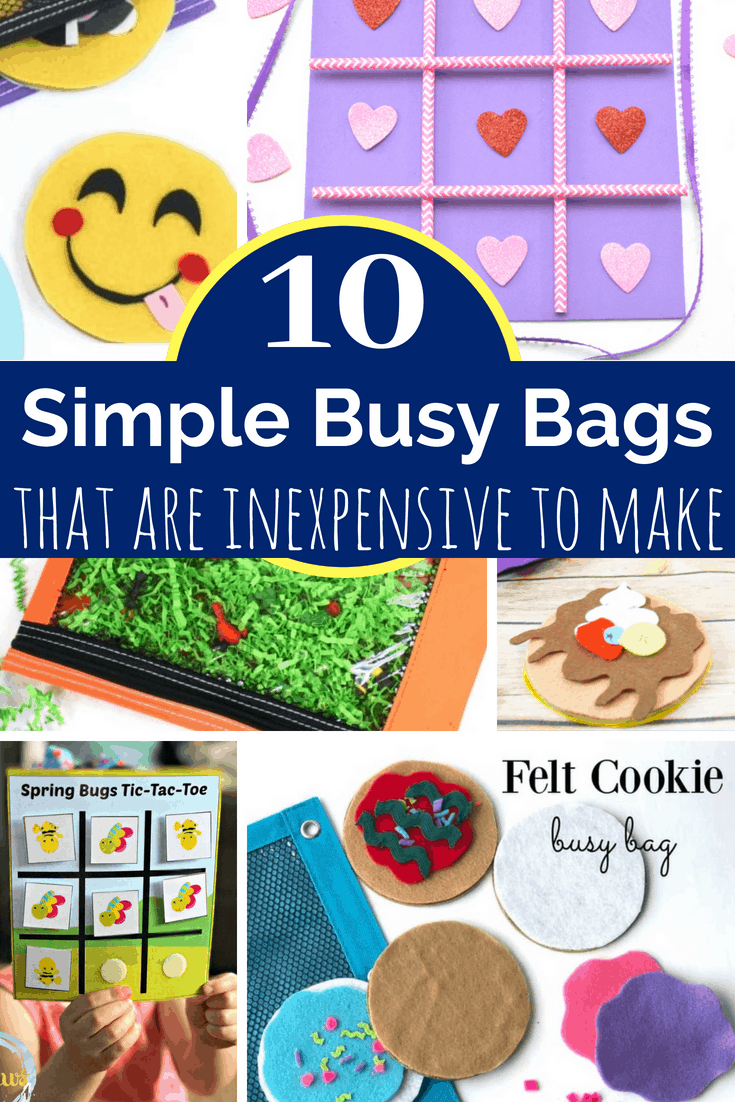 10 awesome busy bags to make for kids that are both simple to put together and inexpensive to make. Great as boredom busters and unplugged quiet time. #busybags #boredombusters #kidsactivities #simplekidsideas #summeractivities