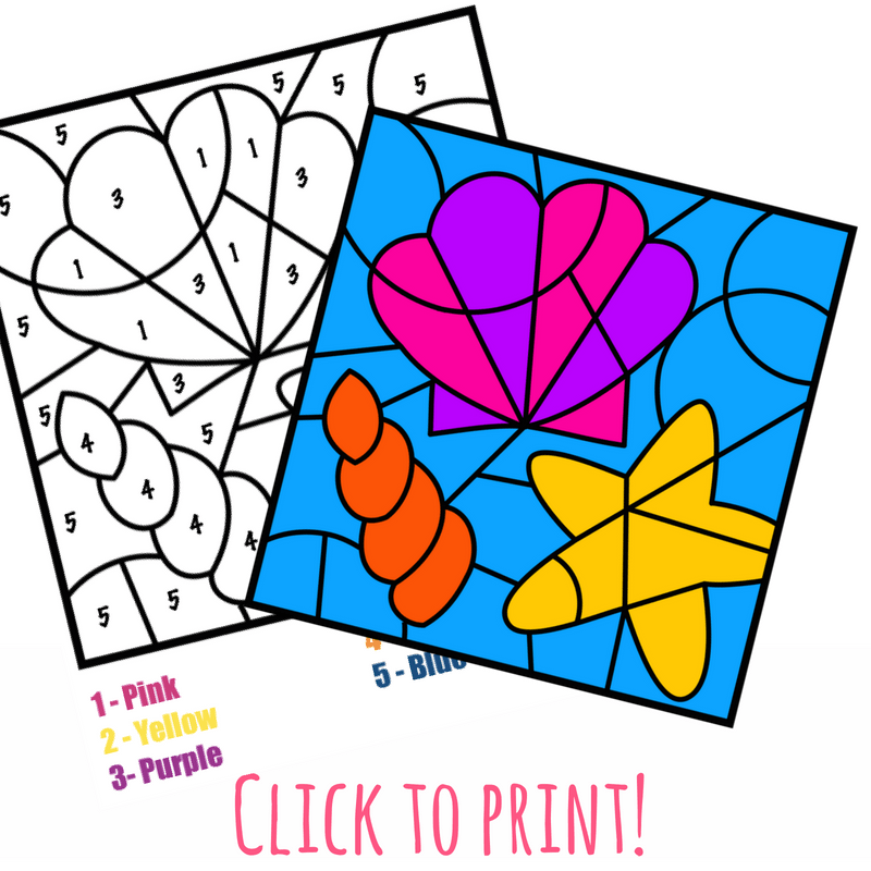 This free color by number beach printable has a fun theme for the summer. Color by number pages are great for early number and color recognition.  #boredombuster #colorbycode #kidsactivities #freeprintable