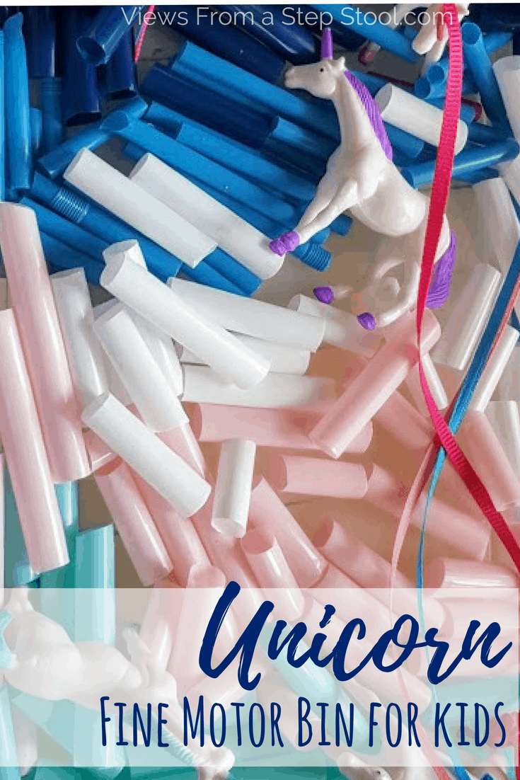 This unicorn sensory bin uses cut up straws as a base. Perfect for fine motor bead stringing and scissor practice for kids.