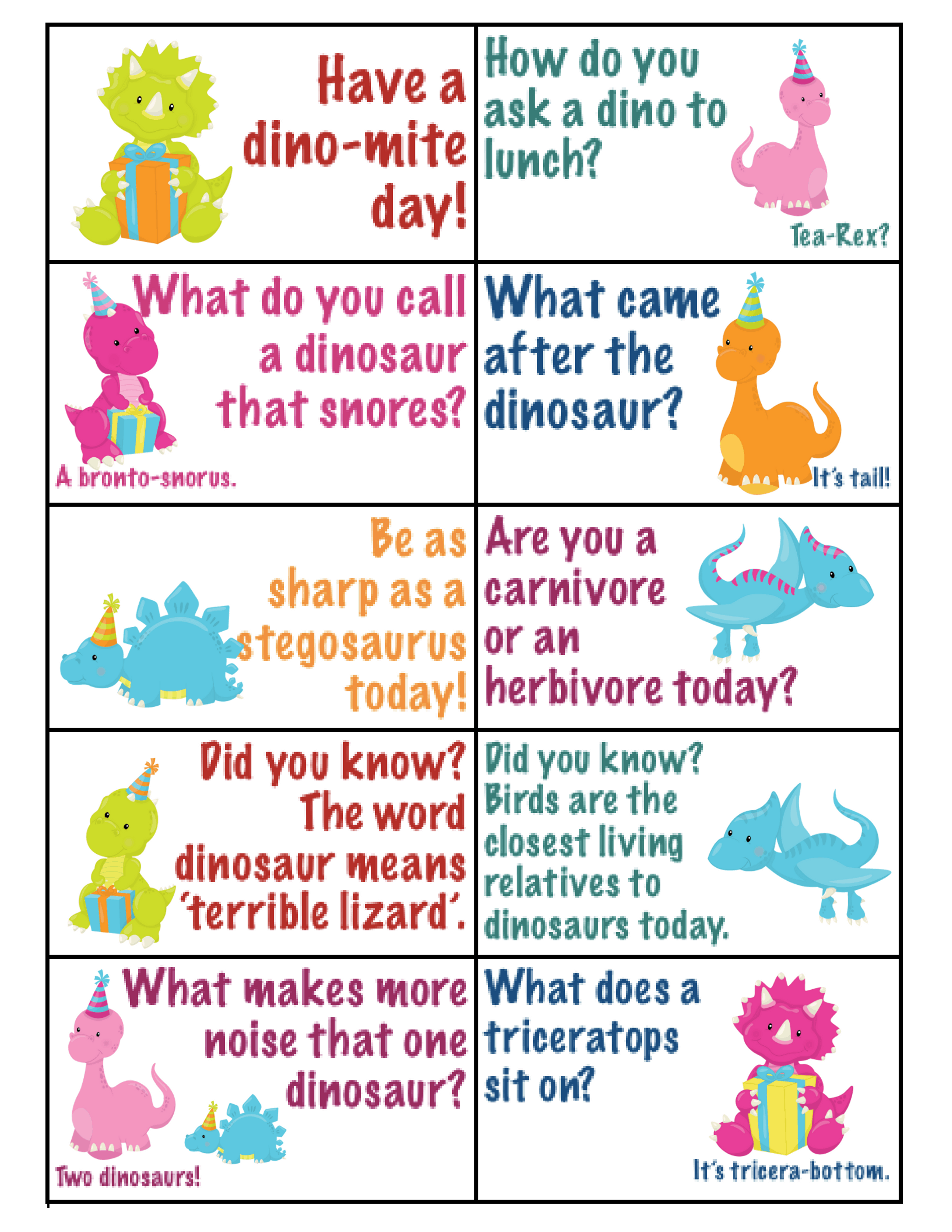 dino lunchbox notes pdf