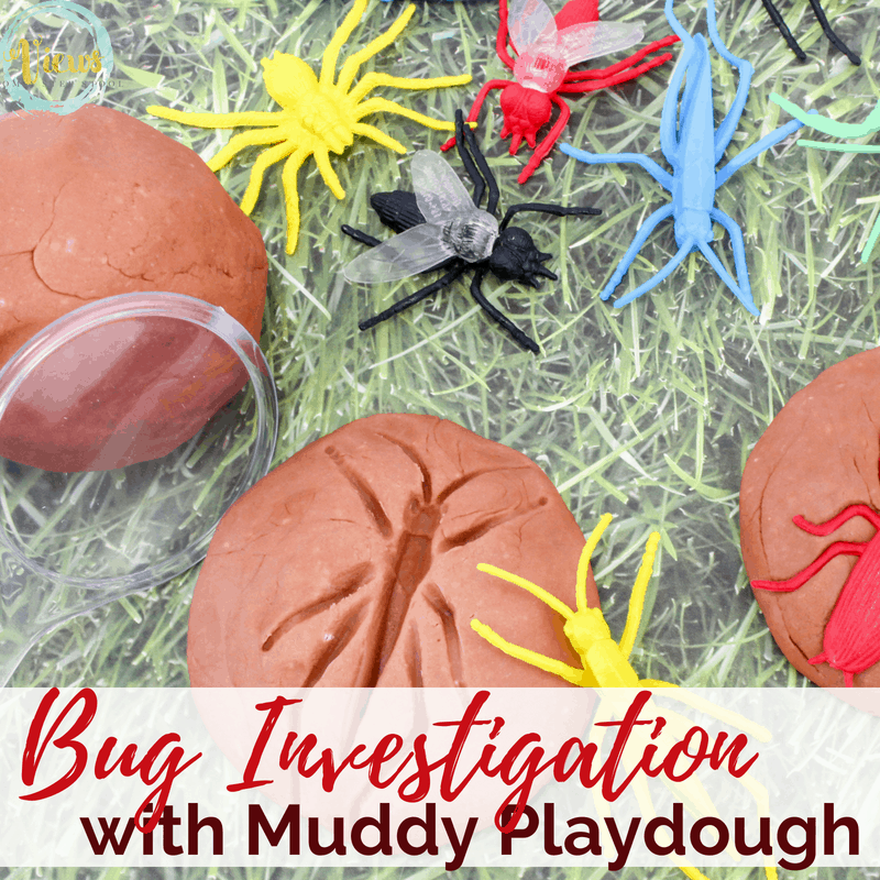 This muddy playdough recipe simply uses food coloring to turn regular homemade playdough into muddy playdough! Perfect with bug investigation for kids. #kidsactivities #playdoughrecipe #homemade #diy #sensoryplay