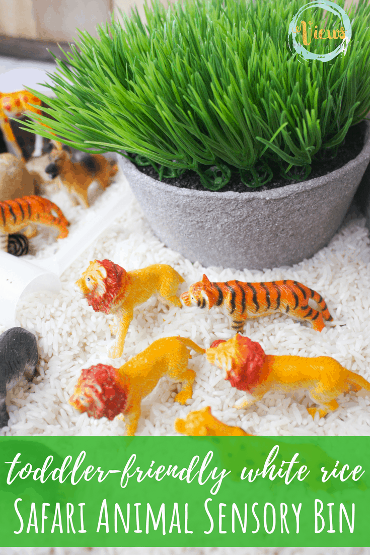 This safari animal sensory bin combines white rice and stones for a fun and engaging sensory base for animals. Kids can scoop and practice fine-motor skills. #sensoryplay #sensorybins #kidsactivities #parenting #preschool