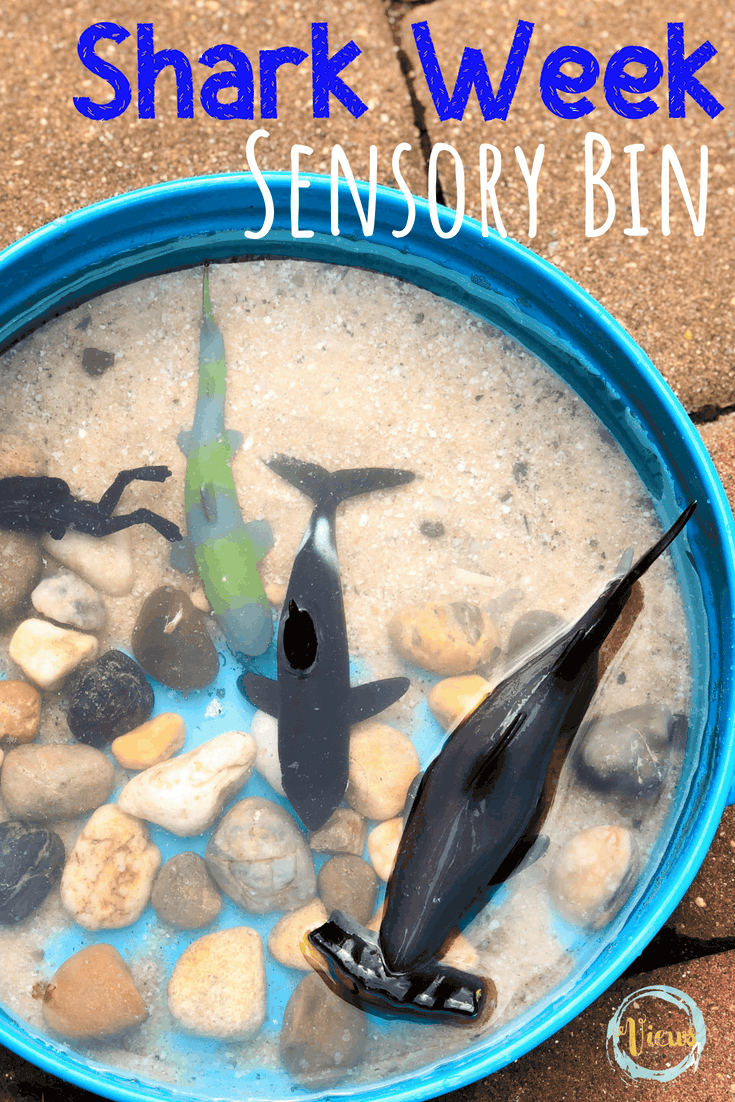A simple shark sensory bin that uses rocks, sand and water to create a natural water play sensory bin with a shark theme for kids. #sensory #sensorybin #sharkweek #kidsactivities #parenting #preschool #toddlers #1yearolds
